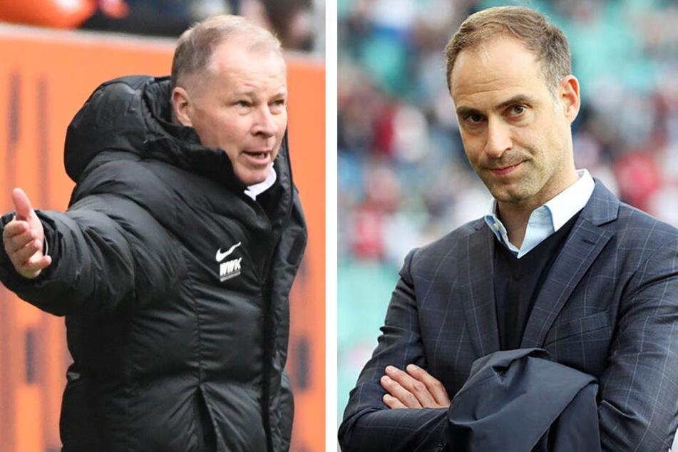 Augsburgs Geschäftsführer Sport Stefan Reuter (52) und RB-Vorstandsvorsitzender Oliver Mintzlaff (43) lieferten sich ein verbales Battle.