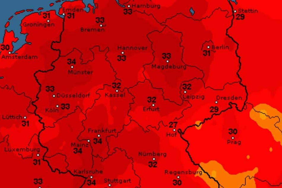 Fast überall in Deutschland wird Mitte kommender Woche die 30-Grad-Marke geknackt.