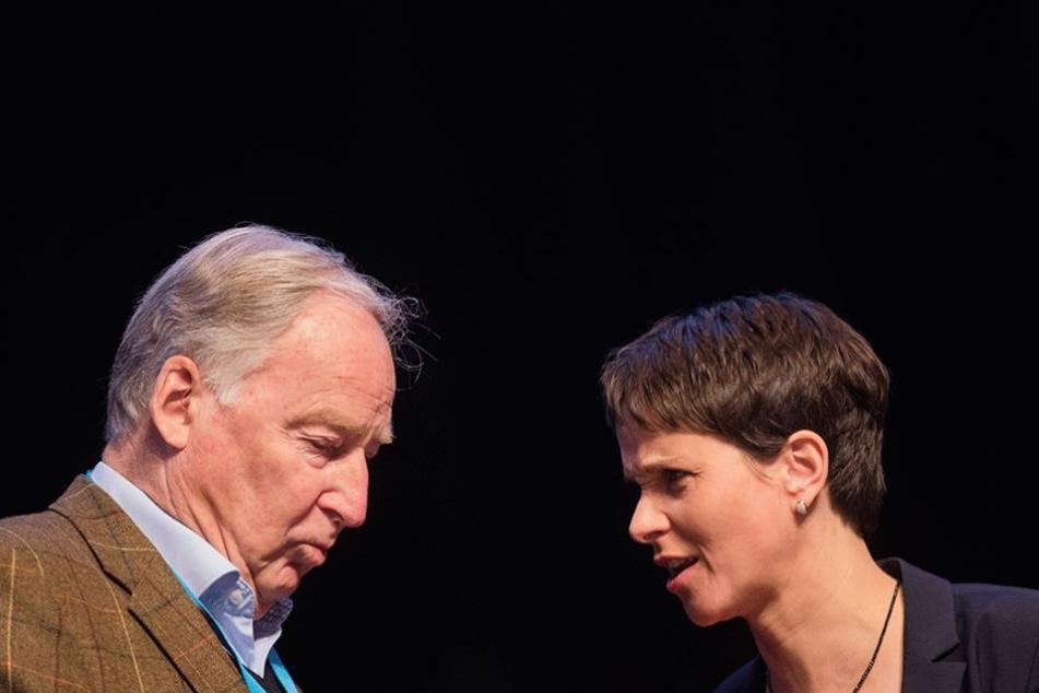 Frauke Petry, AfD-Parteivorsitzende, und Alexander Gauland, Fraktionsvorsitzender der AfD im Landtag von Brandenburg, unterhalten beim Bundesparteitag in Köln.
