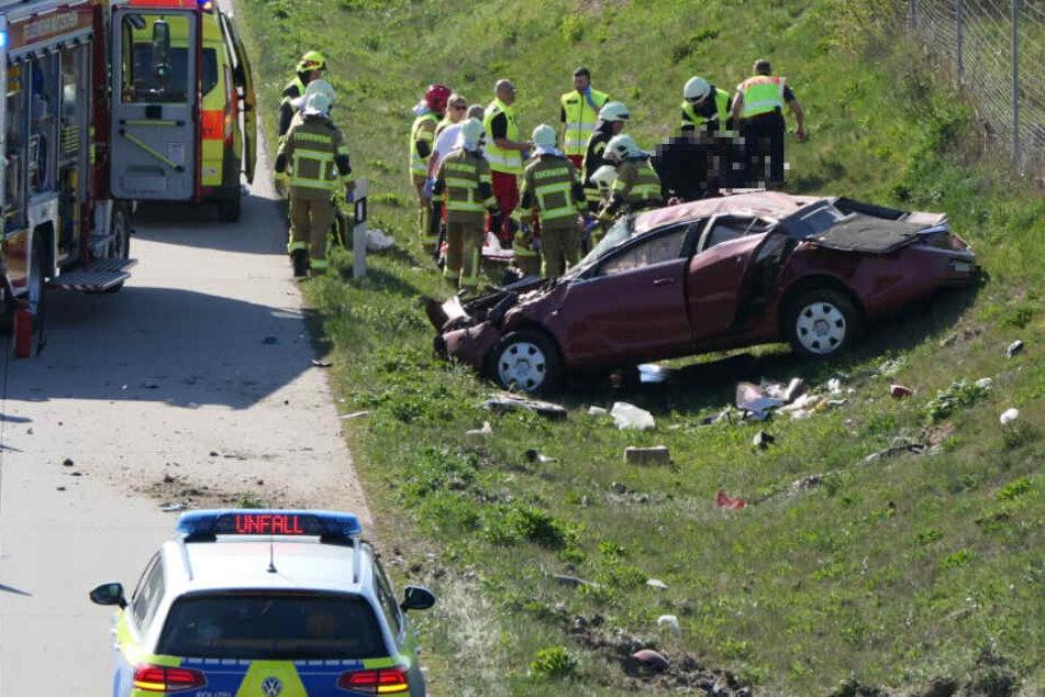Dieses Auto hatte sich mehrmals überschlagen.