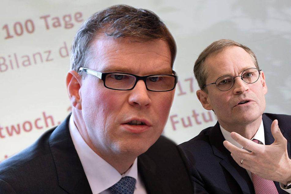 Florian Graf (li.) äußerte sich zum Senat kritisch, während Bürgermeister Müller sehr zufrieden ist.