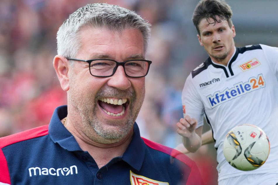 Michael Parensen (r) stellt Neu-Trainer Urs Fischer ein positives Zwischenfazit aus.