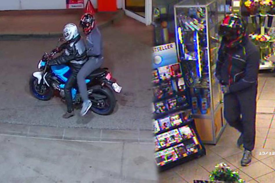 Wer erkennt den Mann, der am 13. Dezember eine Tankstelle überfiel und anschließend auf einem Motorrad flüchtete?