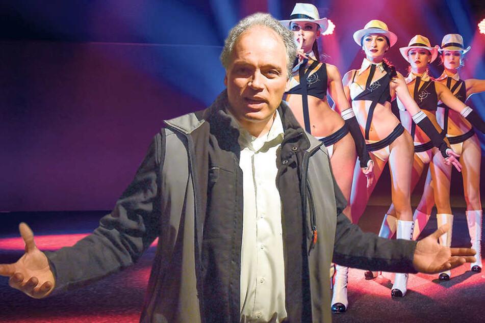 """André Sarrasani lädt zur Show """"Elements III"""" ein und gastiert bis 4. Februar im Elbe-Park. Für die Spielzeit 2017/2018 kommen die alten Kostüme (rechts) noch einmal zum Einsatz."""