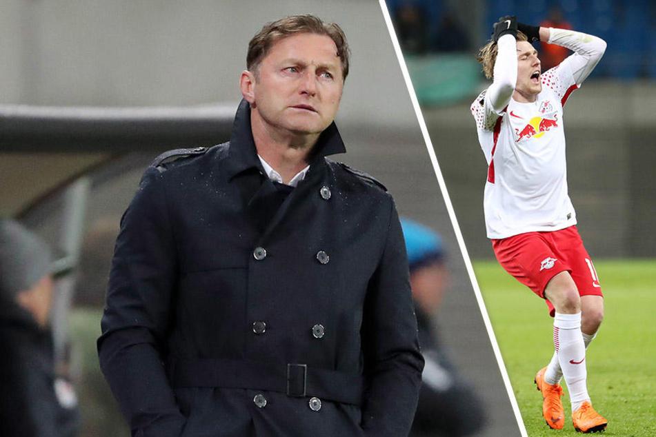 Ärgerten sich beide über das unnötig späte Gegentor: Trainer Ralph Hasenhüttl (l.) und Freistoß-Pechvogel Emil Forsberg.