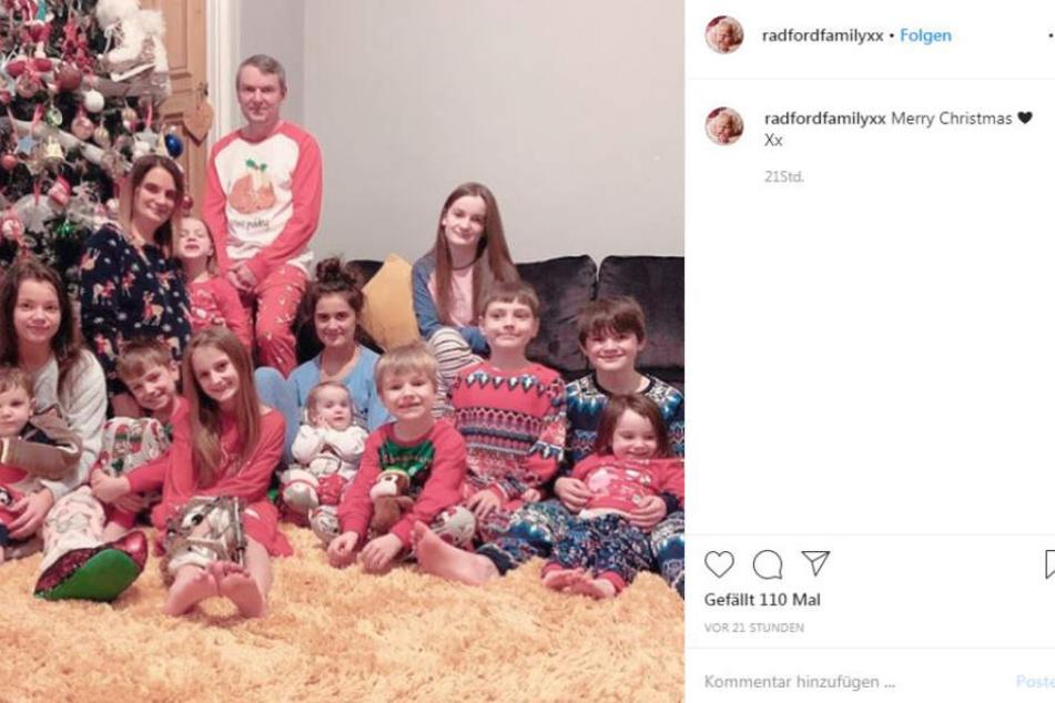 Das diesjährige Weihnachtsfoto der Familie Radford.