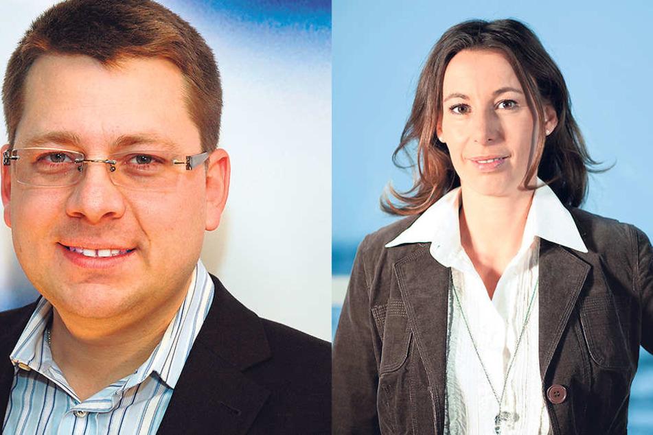 Macht Hoffnung auf einen schönen Altweibersommer:Klimatologe Dr. Karsten Brandt (43, li.).Nach ihr wurde 2015 sogar mal ein Hochdruckgebiet benannt: MDR-Meteorologin Michaela Koschak (39).