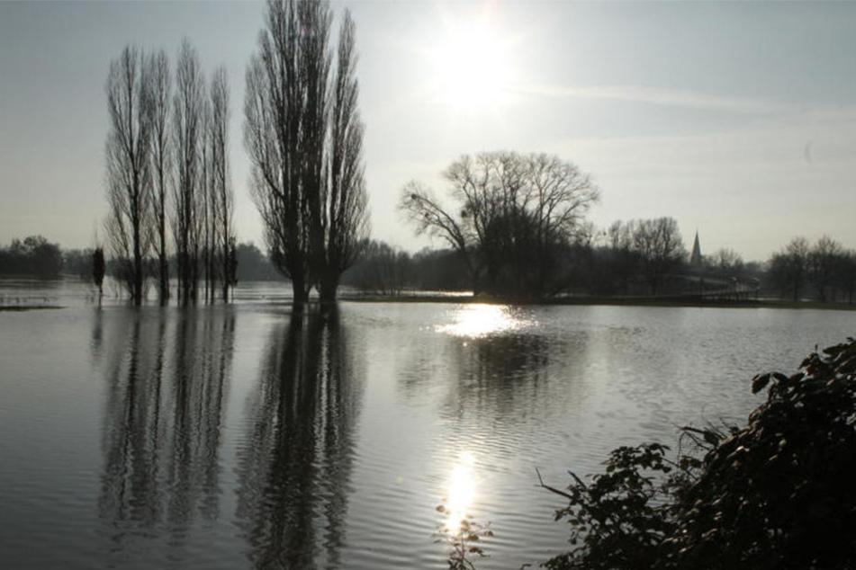 Noch ist die Brücke am Weser-Werre-Kuss begehbar. Allerdings ist sie nur erreichbar, wenn man durch Wasser watet.