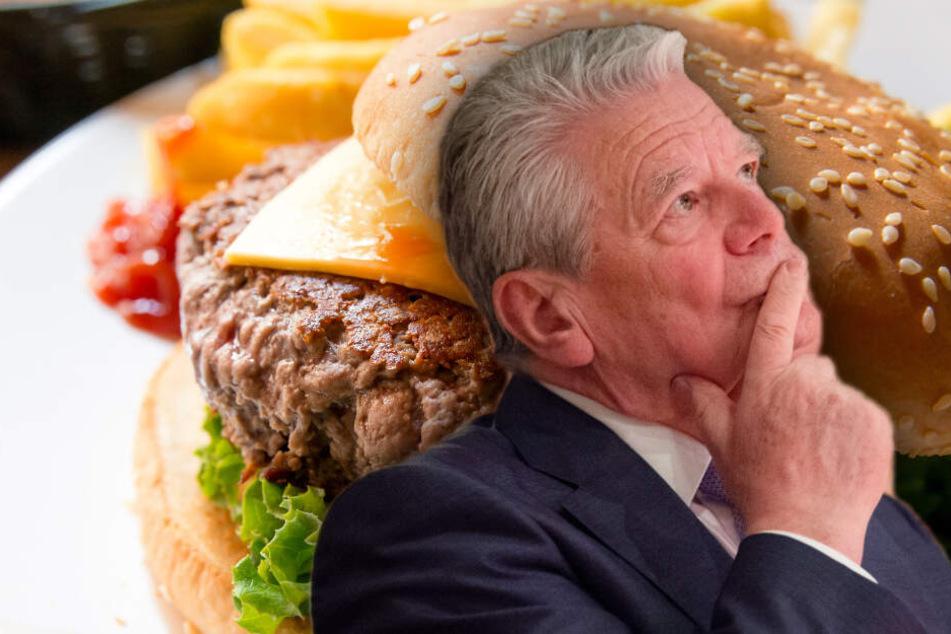 Hamburger? Nicht mit Joachim Gauck. (Bildmontage)