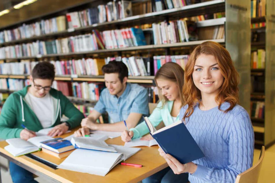 Studenten lernen in einer Bibliothek. (Symbolbild)