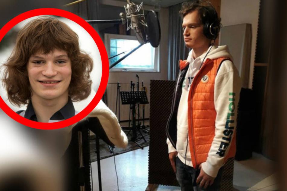 Fritz als 13-Jähriger (Kreis) und bei den Aufnahmen zu seinem neuen Song.