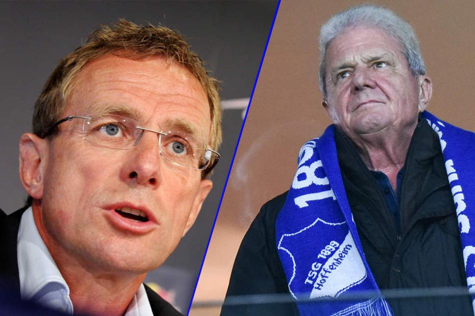 SAP-Mitbegründer Dietmar Hopp (r.) übt harte Kritik an seinem ehemaligen Hoffenheimer Trainer Ralf Rangnick (l.).
