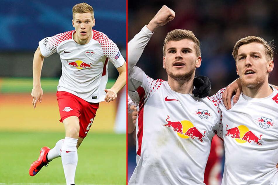 Ob Marcel Halstenberg (l.) und Emil Forsberg (r.) rechtzeitig wieder fit werden, ist mehr als fraglich. Besser sieht es dagegen bei Timo Werner (Mitte) aus.