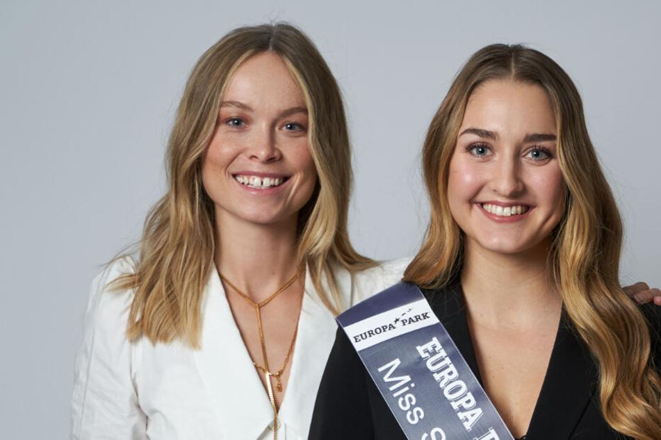 Die 21-jährige Modedesign-Studentin Nadine Voigt (r., hier neben der amtierenden Miss Germany Nadine Berneis aus Stuttgart) ist zur neuen Miss Sachsen gewählt worden.