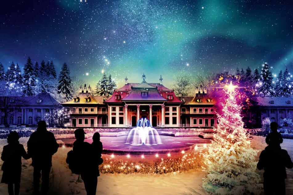 Seit 2018 erstrahlt Schloss Pillnitz in der Weihnachtszeit in buntem Licht.