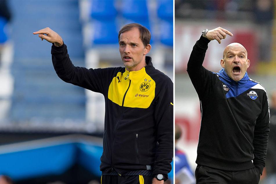 Ungleiches Duell: Thomas Tuchel (BVB) gegen Stefan Emmerling (SCP).