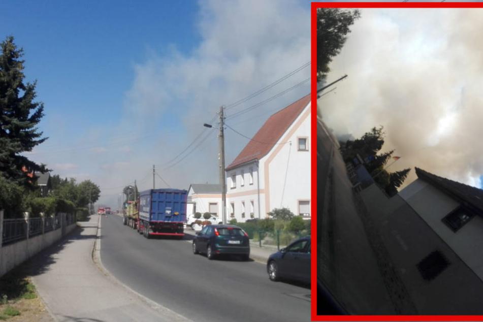 Über dem Parthensteiner Ortsteil Pomßen liegt eine dichte Rauchwolke.