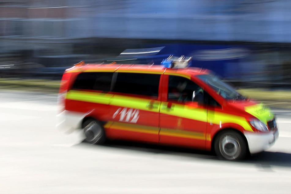 Die Feuerwehr rettete den Vater und die drei Kinder mit der Drehleiter über das Dach des Mehrfamilienhauses.
