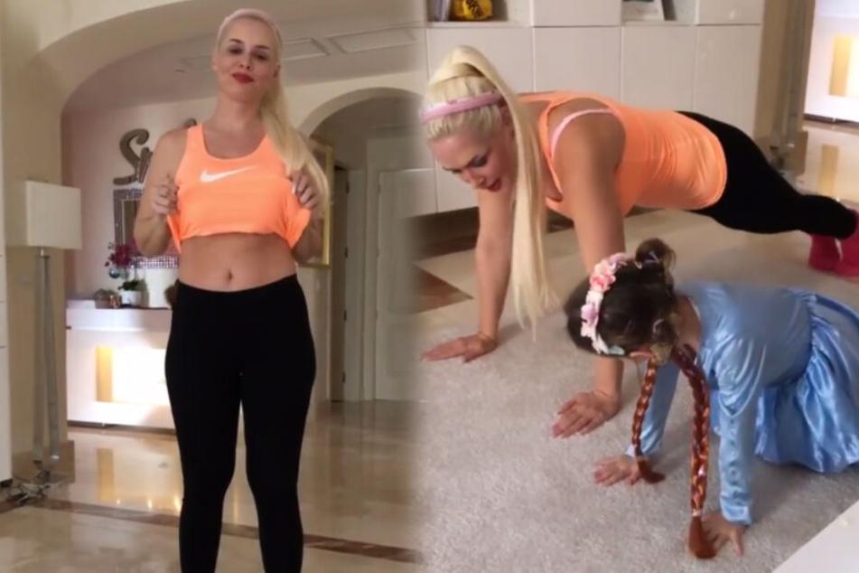 Erst zeigt Mama Daniela ihren Bauch, dann zeigt ihr Töchterchen Sophia, wo der Hammer hängt. (Montage/Screenshots)