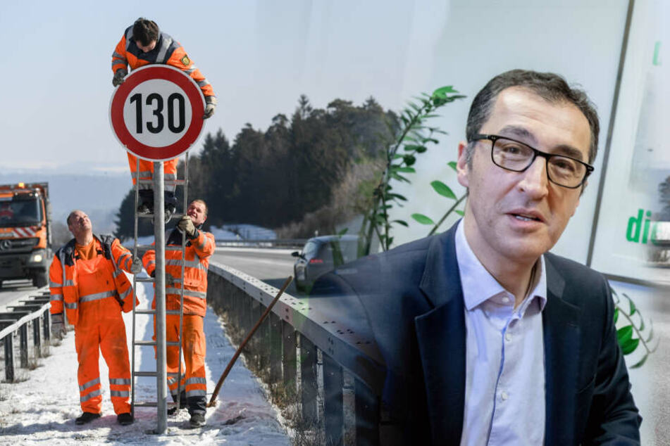 Cem Özedmir (53) debattiert über Tempo 130 auf den Autobahnen. (Bildcollage)