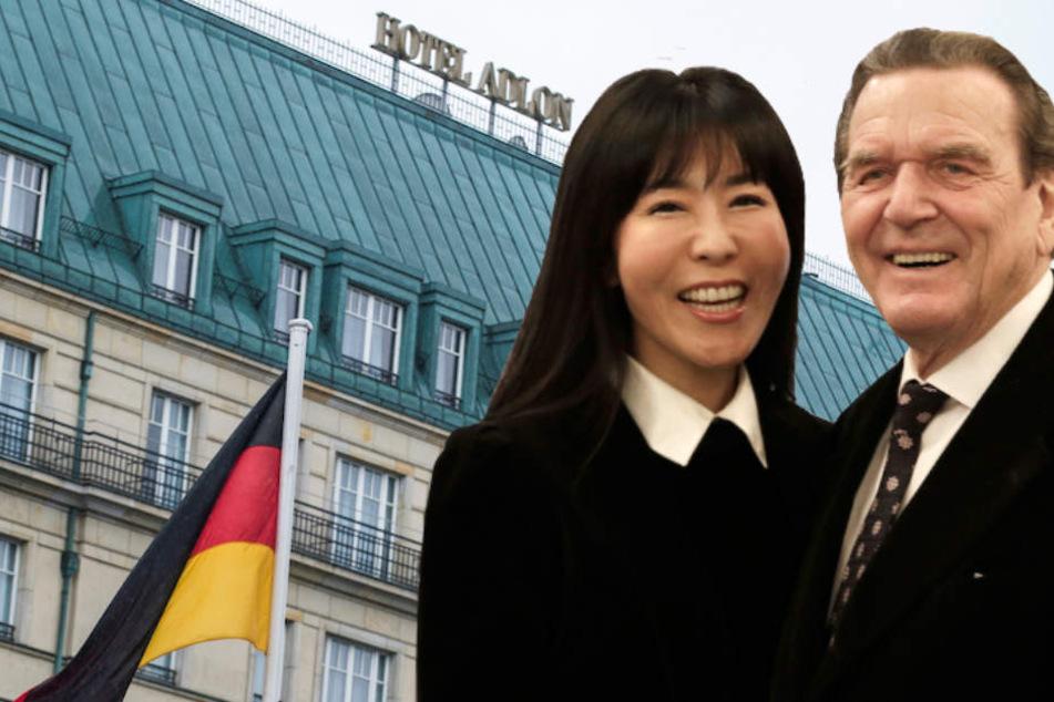 Alt-Kanzler Gerhard Schröder (74) und seine 5. Frau Soyeon Kim (49) feiern ihre Hochzeit im Berliner Hotel Adlon nach. (Bildmontage)