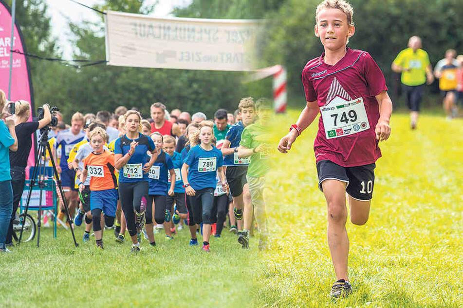 Nur noch wenige Meter bis ins Ziel: Kenny (8) lief am Samstag tapfer auch für seinen kranken Bruder Ricky - und sogar schneller als sein Vater.
