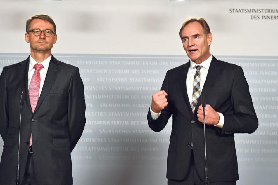 Innenminister Roland Wöller (49, CDU, v.l.) und OB Burkhard Jung (61,SPD) verkündeten gestern eine Null-Toleranz-Strategie gegen Linksextremismus.