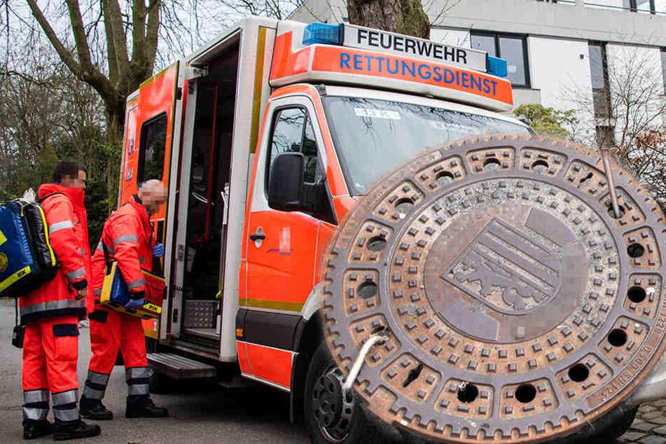 Junkie randaliert! Gullydeckel in Rettungswagen geworfen