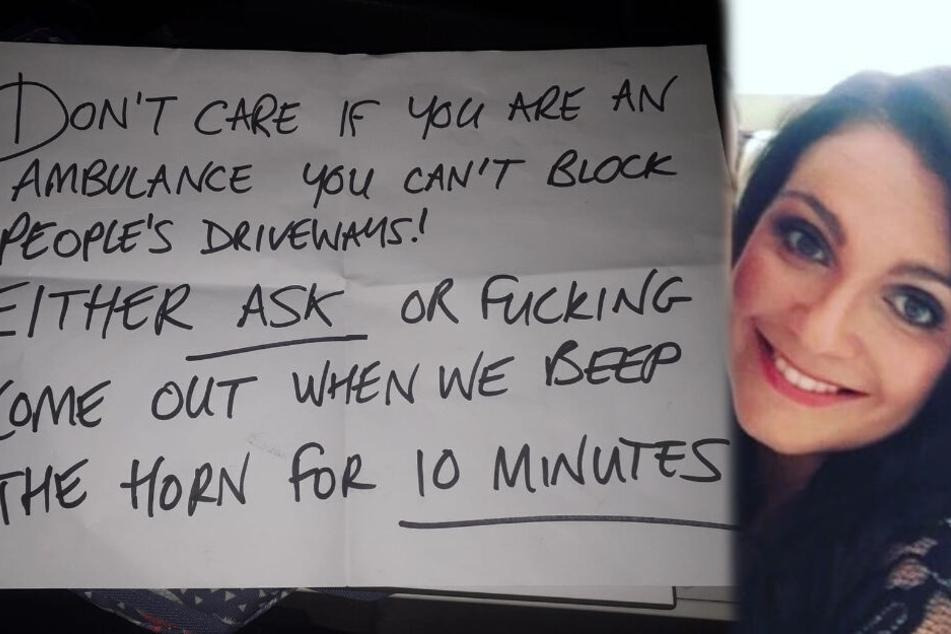 Diesen bösen Brief erhielt Lauren Wheeler, weil ihr Rettungswagen eine Einfahrt zuparkte.
