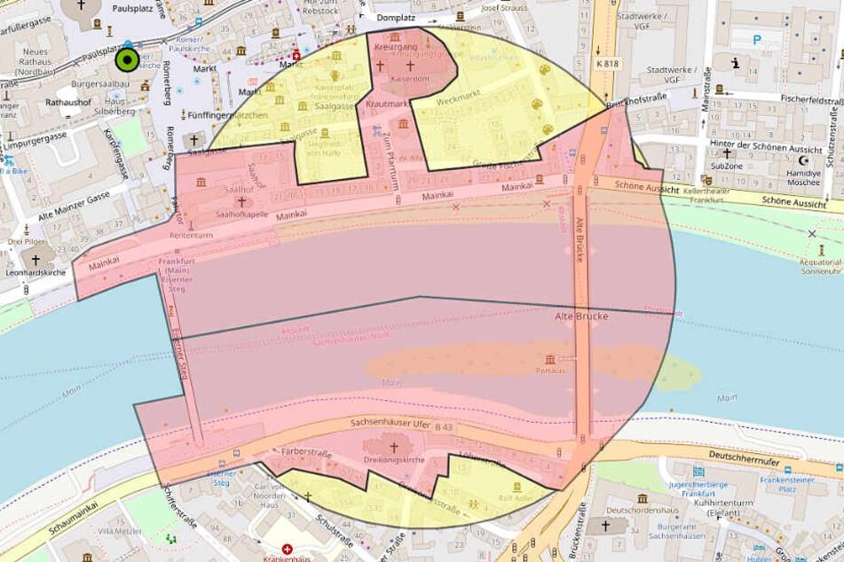 Diese Grafik zeigt den von der Evakuierung am Sonntag betroffenen Bereich in Frankfurt.