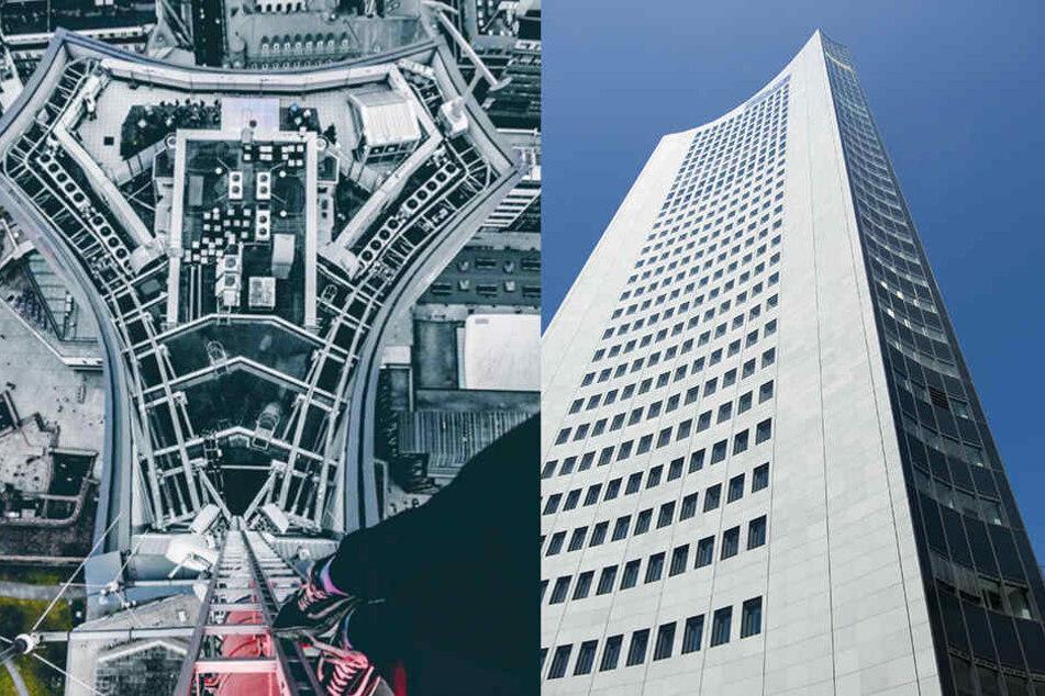 Extremsportler klettert auf 155 Meter hohen MDR-Turm und keiner merkt's