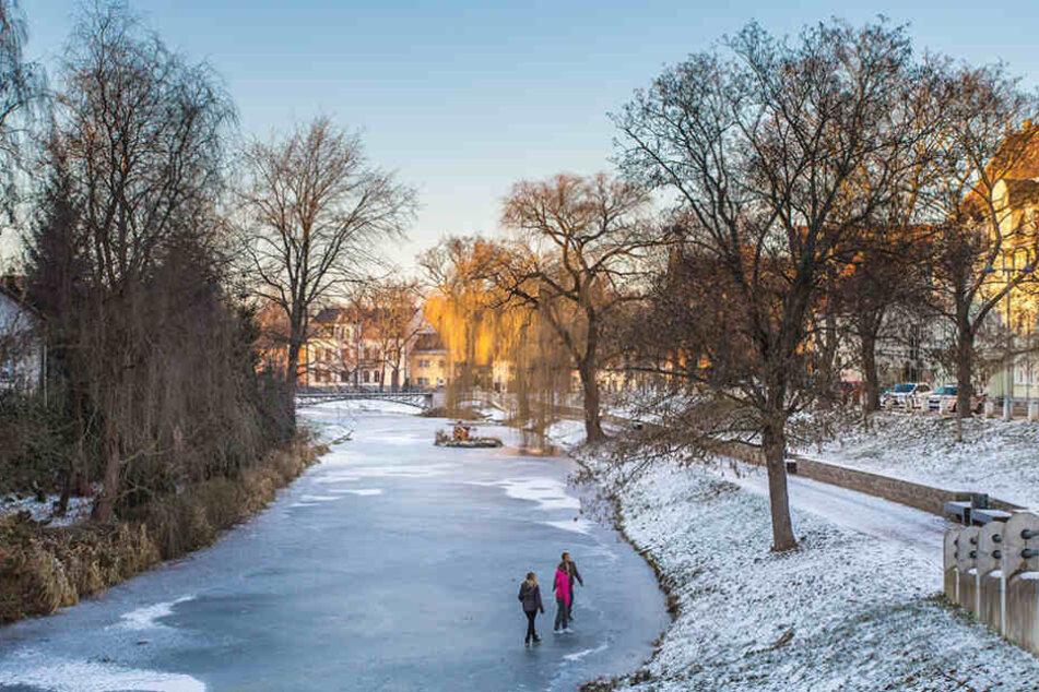 Selbst im Winter strahlt Sachsens Norden: Delitzsch.