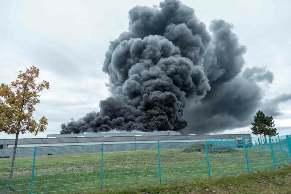 Ermittler suchen nun nach Ursache für Brand in Lagerhalle in Oederan.