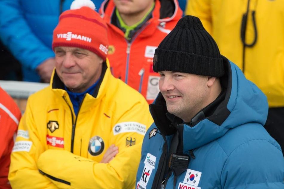 """André Lange (rechts) freut sich auf eine """"sehr reizvolle Aufgabe"""" in China."""