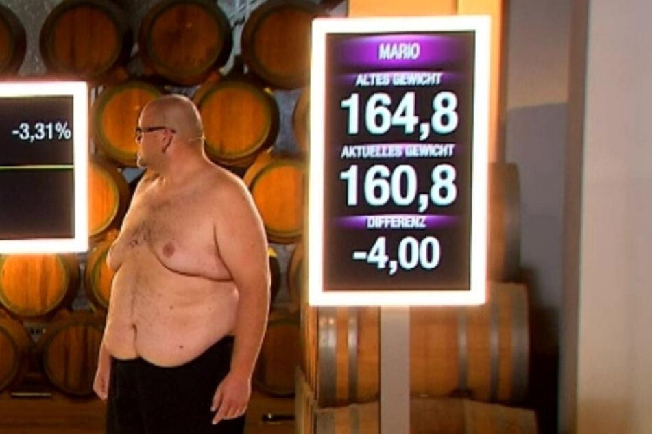 Das Ergebnis gestern auf der Waage: Mario hat auf 160,8 Kilo abgespeckt.