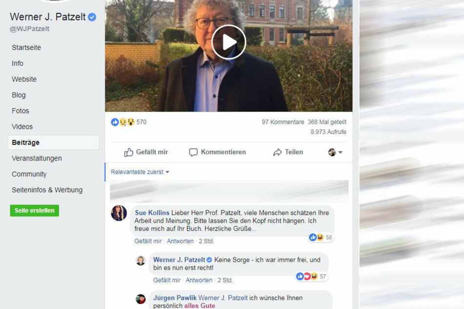 Auf Facebook gibt es zahlreiche zustimmende Kommentare zu Patzelts Video.