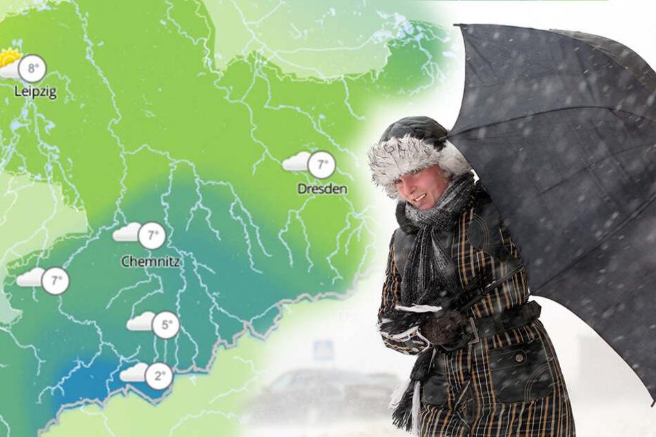 Das erste Frühlingswochenende wird in Sachsen ungemütlich und kalt.