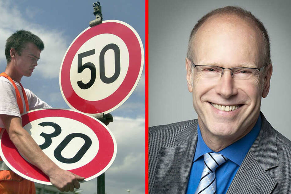 Ein Mitarbeiter der Straßenmeisterei wechselt ein 50-Stundenkilometer-Schild gegen ein Schild mit Tempo-Limit 30. Kellner unterstützt dies.