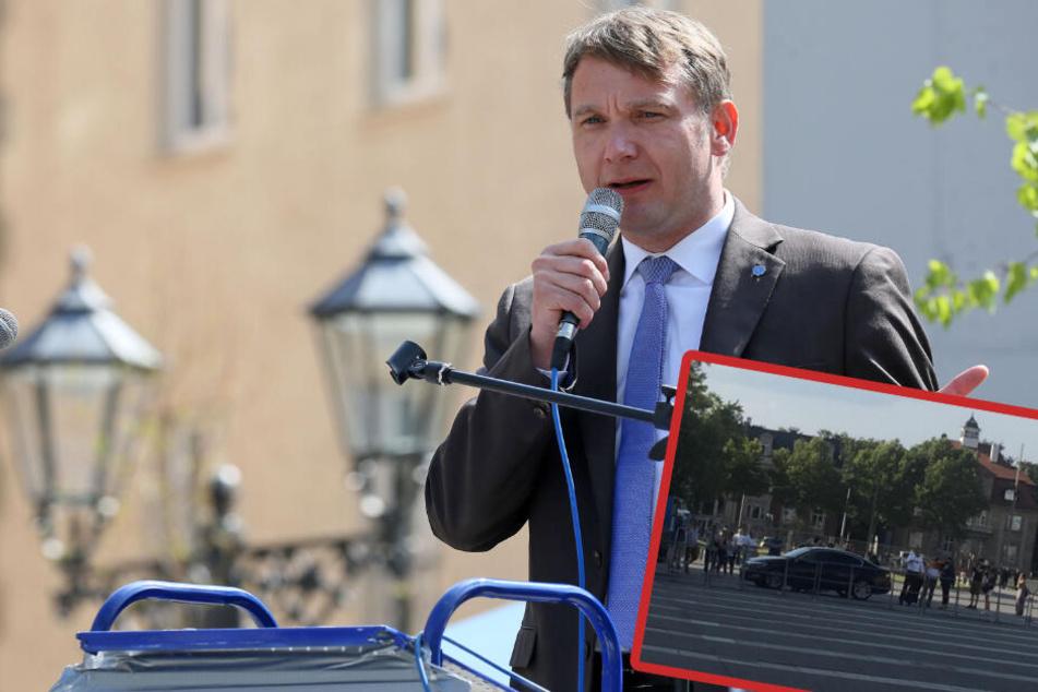 Nach untersagter Connewitz-Demo: André Poggenburg tritt unter Protest vor Gericht auf