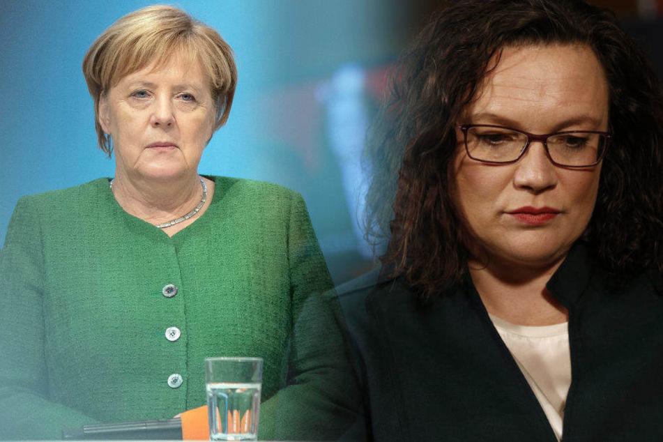 Ungewisse Zeiten stehen den beiden Partei-Vorsitzenden Angela Merkel (64, CDU) und Andrea Nahles (48, SPD) bevor.