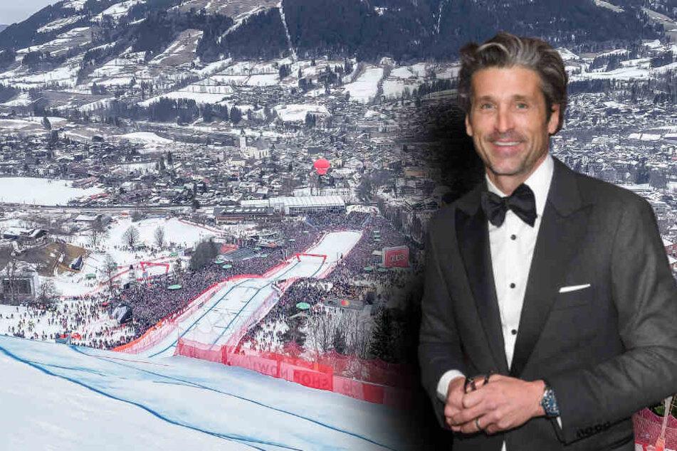 Schauspieler Patrick Dempsey (54) wollte das Abfahrsrennen in Kitzbühel genießen und musste ein peinliches Interview über sich ergehen lassen. (Bildmontage)