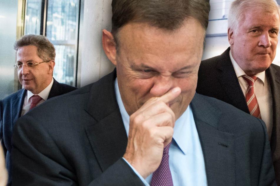 Oppermann (M) hat genug von Maaßen (l) und Seehofer, und ergriff stellvertretend für seine Partei das Wort. (Bildmontage)