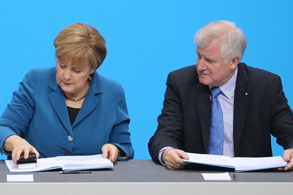 Bundeskanzlerin Angela Merkel (CDU) und der bayerische Ministerpräsident Horst Seehofer (CSU) beim Unterzeichnen des Koalitionsvertrags im Dezember 2013..