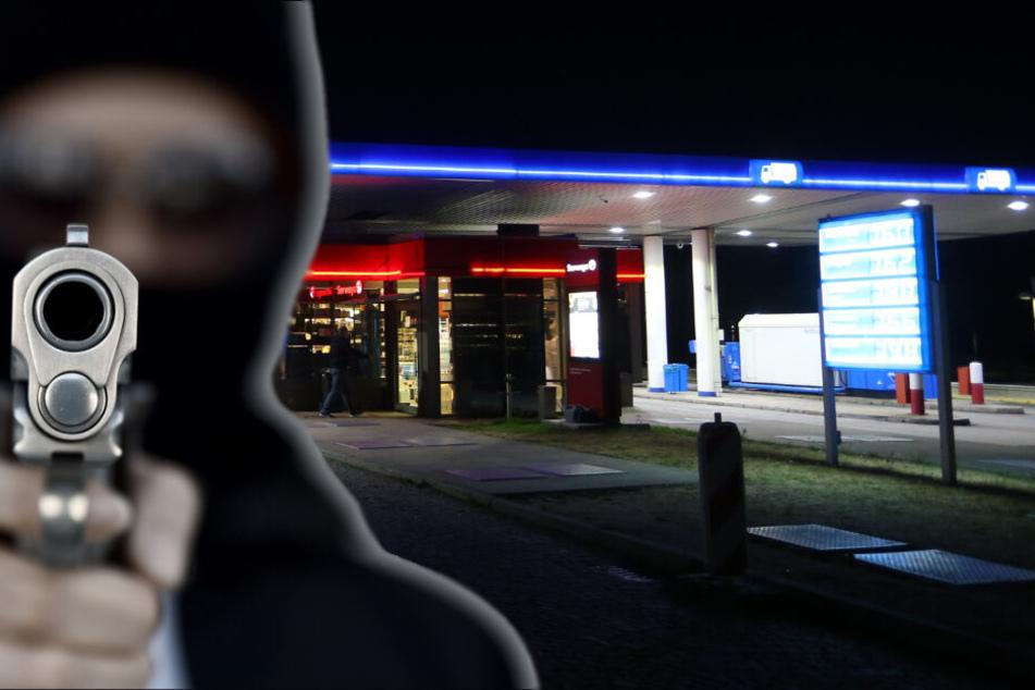 Schüsse in Tankstelle: Maskierter Mann zieht Waffe