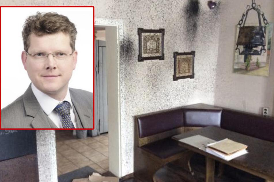 """Der gesamte Gaststättenbereich des Hotels """"Zur Ratte"""" wurde mit Bitumen verschmutzt. FDP-Chef Friedrich Vosberg (50) verurteilt den Anschlag."""