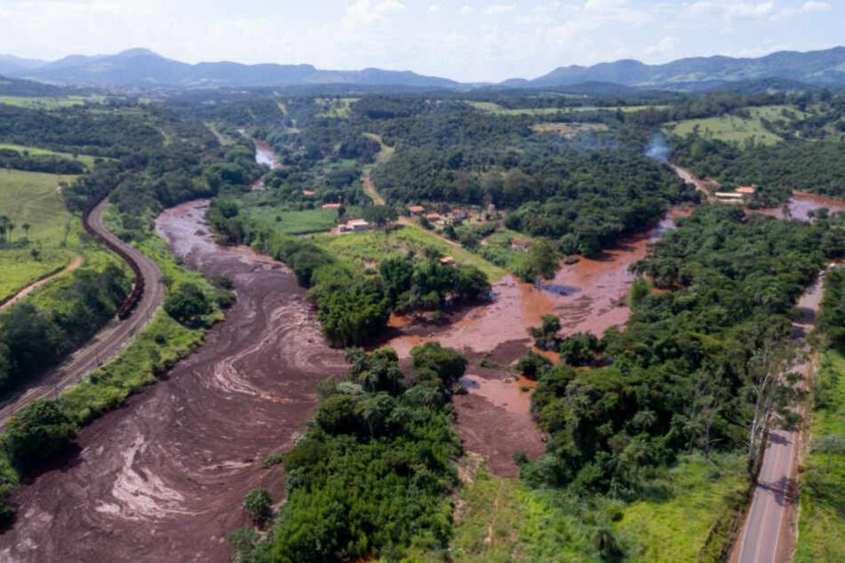 Eine Luftaufnahme zeigt die Schlammlawine nach einem Dammbruch bei der Gemeinde Brumadinho.