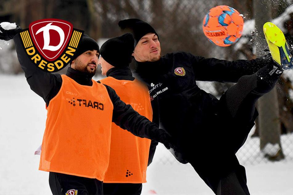 Fußball im Schnee: Dynamo trainiert mit Sonderregeln