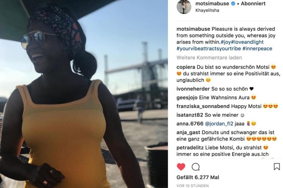 Auf Instagram präsentiert sich Motsi Mabuse (36) mit Schwangerschaftsbauch und Knallfarben.