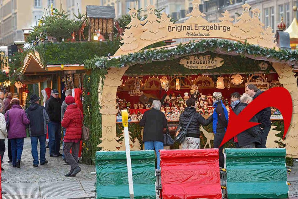 Dresden schmückt Nizza-Sperren auf dem Striezelmarkt