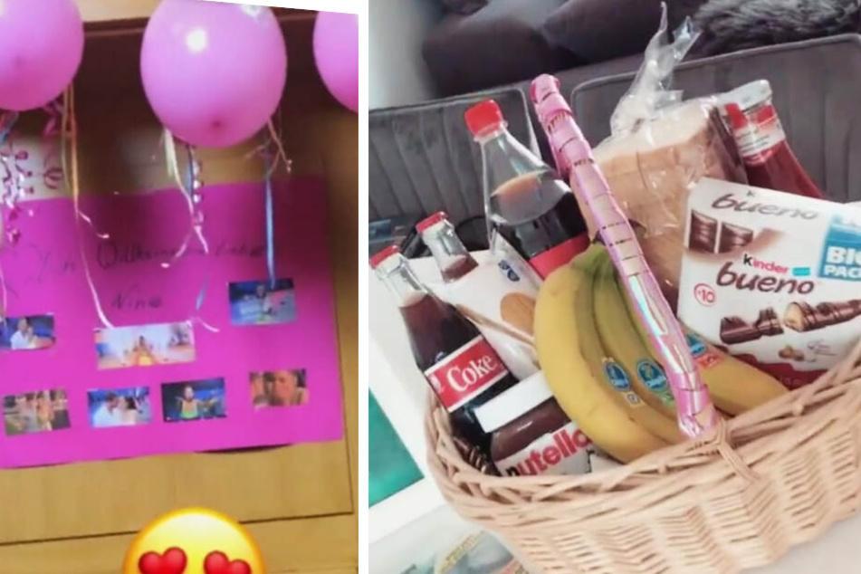Mit Luftballons, Luftschlangen, einem Plakat und einem Korb voller Süßigkeiten wurde Janine Pink (32) überrascht.